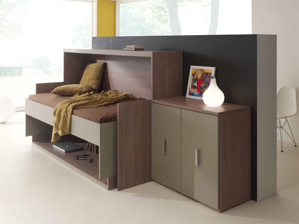 hidden bed with integrated desk