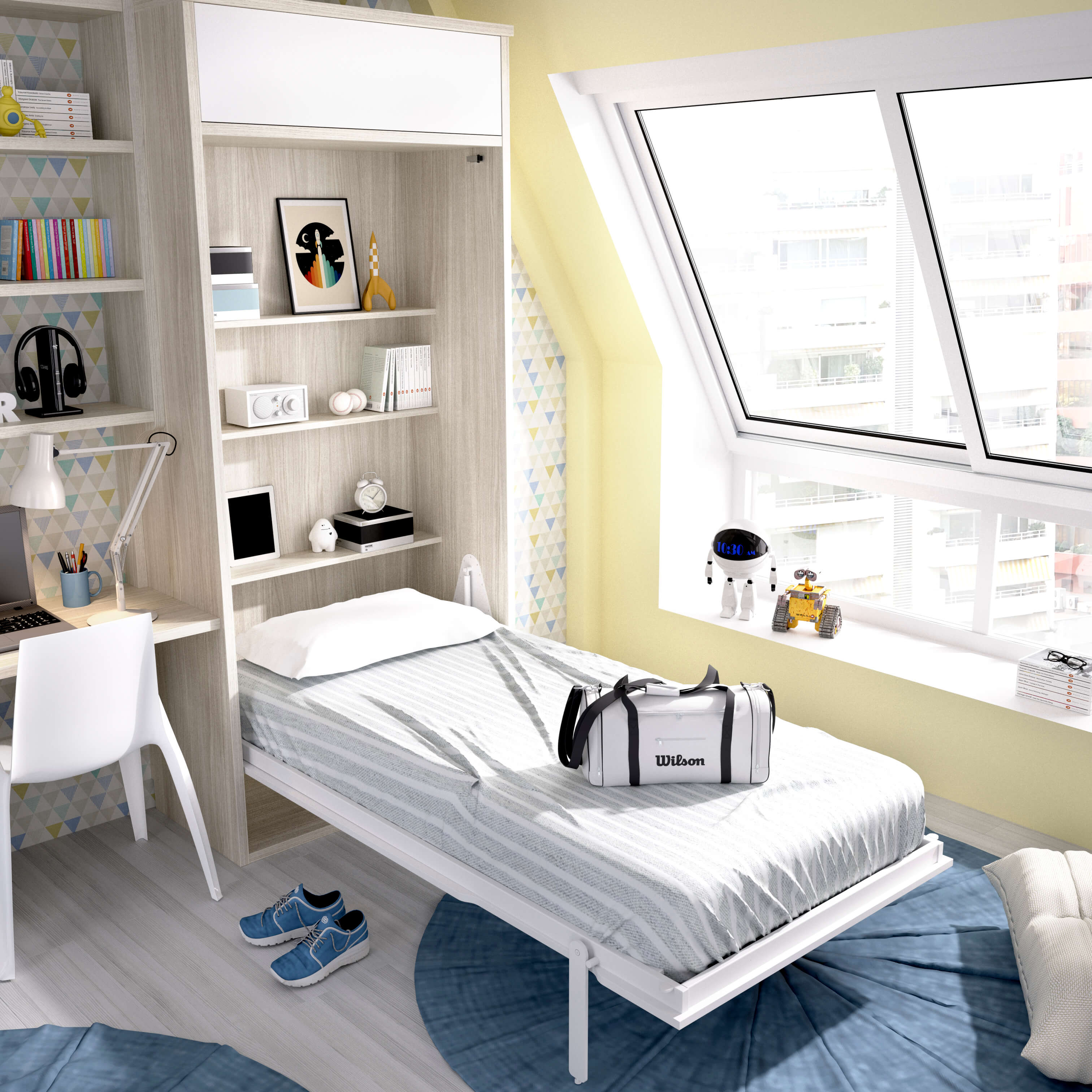 Single vertical wall bed with overhead storage