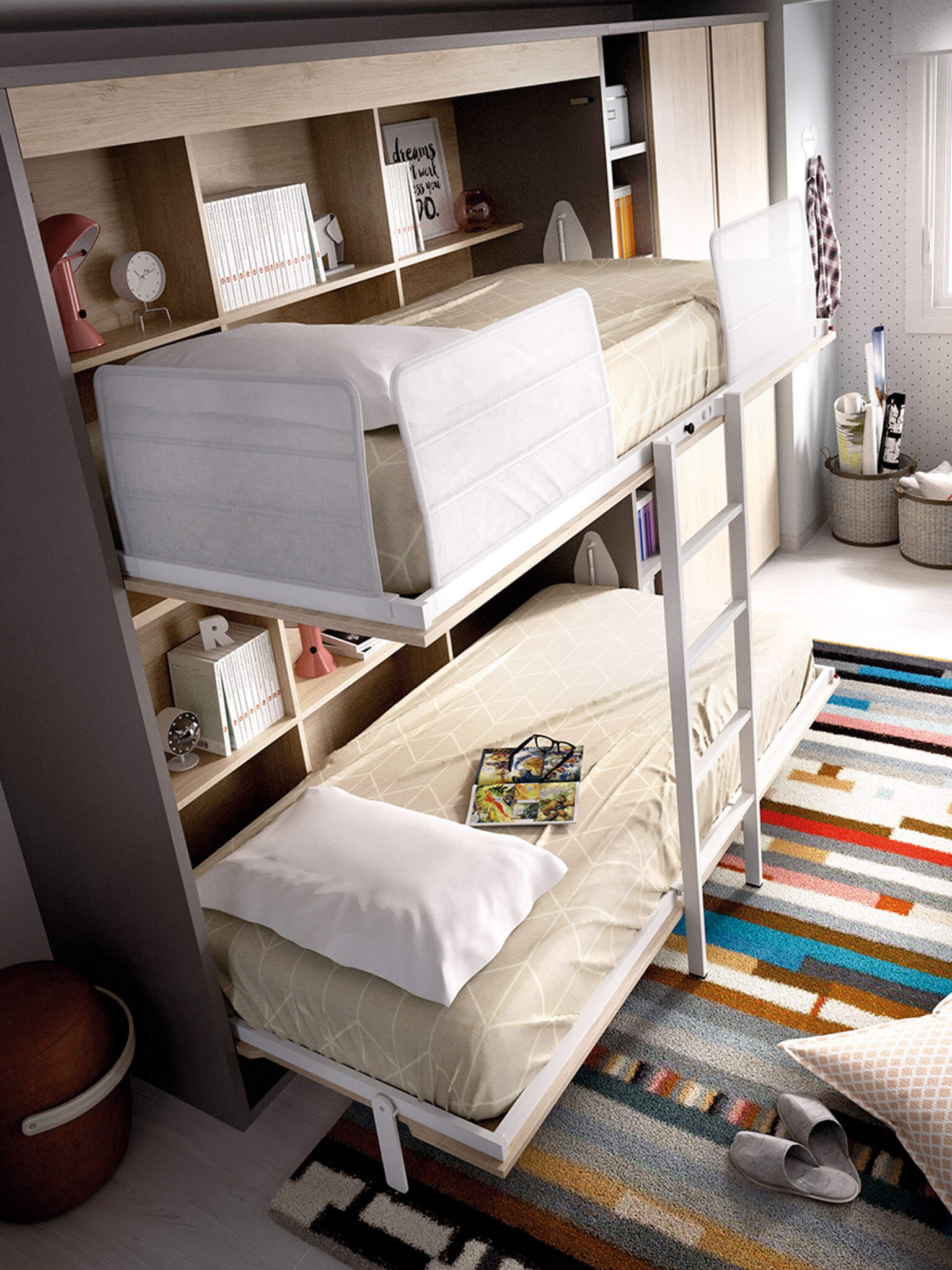 Bunk wall beds