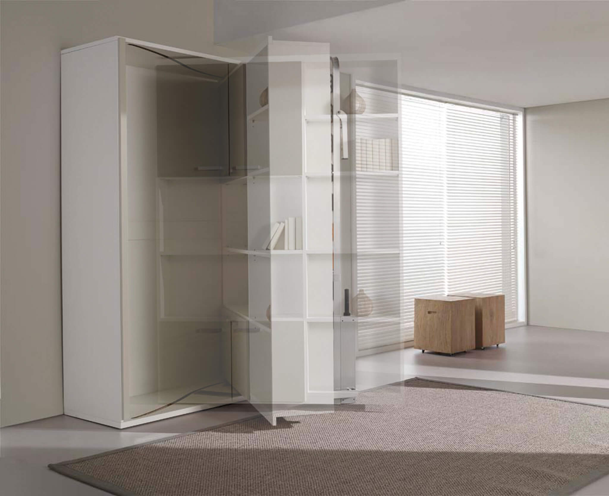 Bookcase with hidden wall bed