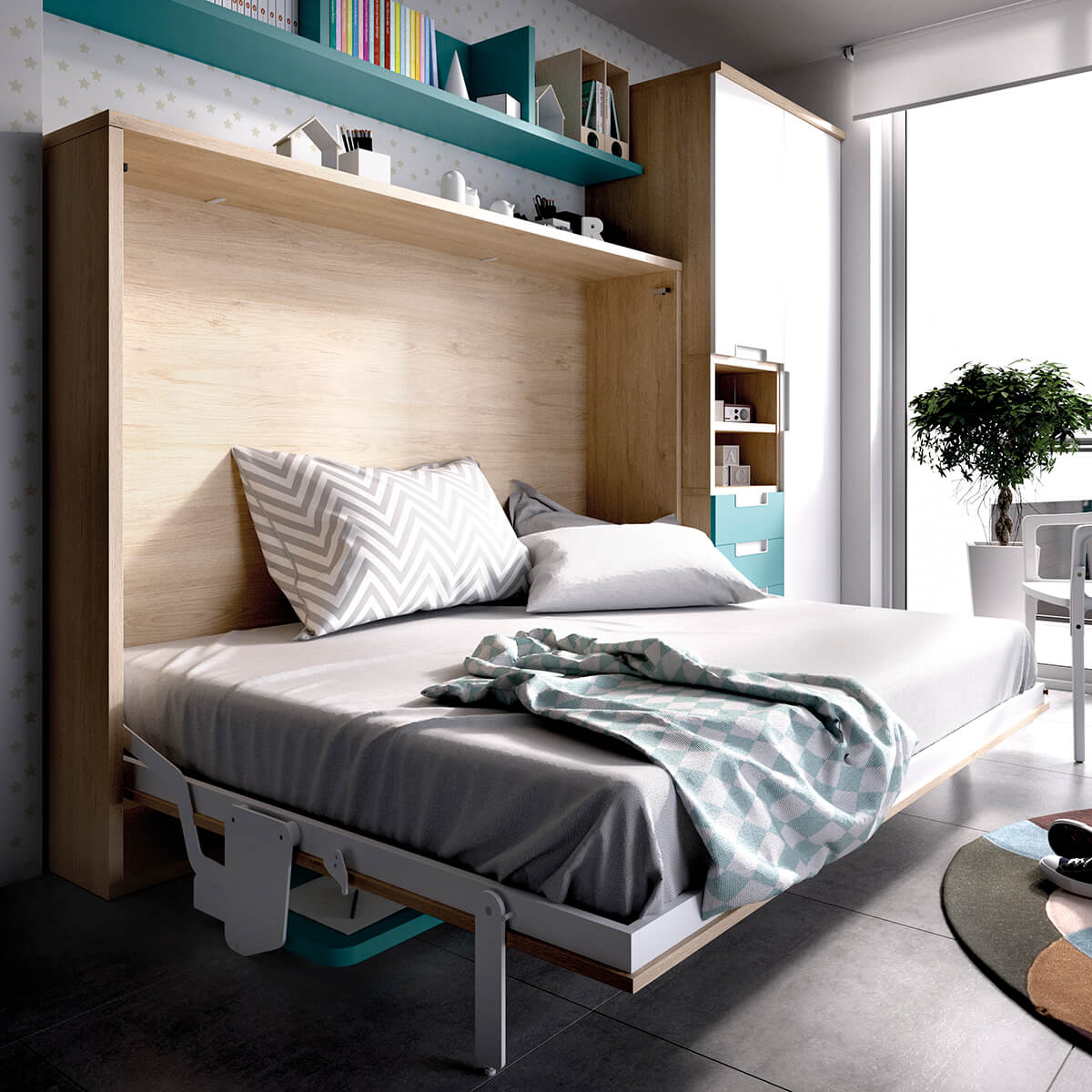 Double Wall bed with Desk